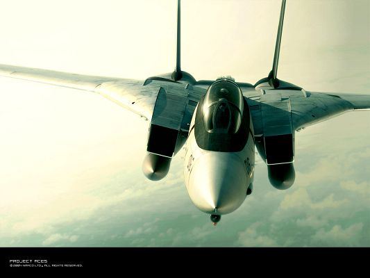 click to free download the wallpaper--Ace Combat Posts, an Aeroplane in the Sky, is in Steady Fly, Feeling Safe and Secured