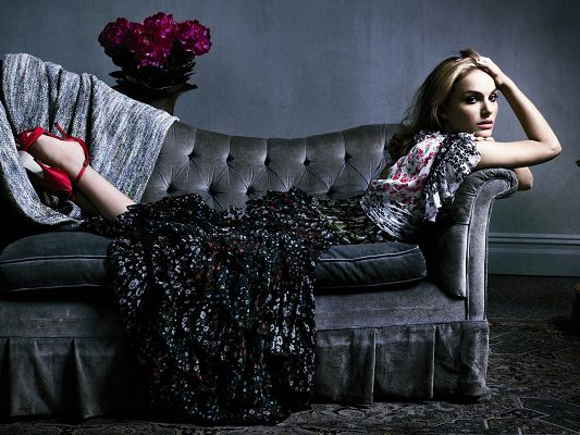 click to free download the wallpaper--Actress Pictures Hot, Tired Natalie Portman in Floral Dress