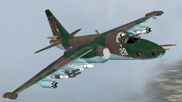click to free download the wallpaper--Aeriplane Shows Pic, Sukhoi Su-25/39 Frogfoot in Flight