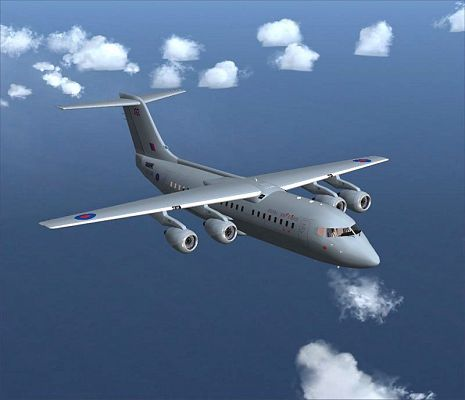 click to free download the wallpaper--Aeroplane Show Image, RAF BAe 146-200 in Flight.