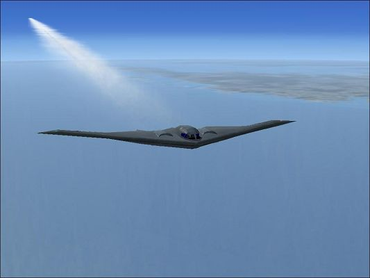 click to free download the wallpaper--Aeroplanes Show Image, Northrop Grumman B-2A in Flight