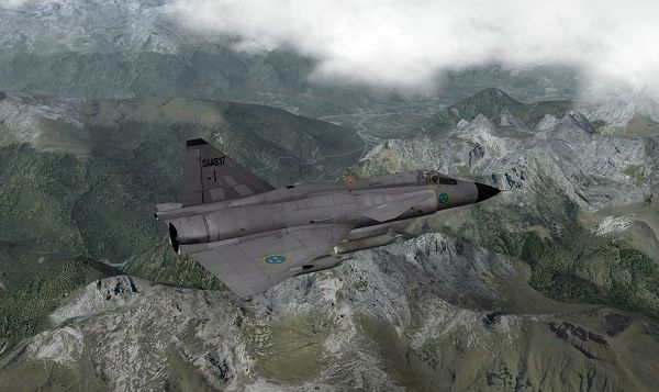 click to free download the wallpaper--Air Show 2013, X-Plane Flight Simulator, Saab 37 Military Aircraft Flying over the French Alps