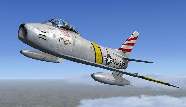click to free download the wallpaper--Air Show in Paris, F-86F in Flight