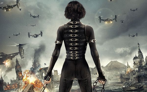Alice in Resident Evil 5 Retribution in High Quality and Resolution, Buildings on Fire, a Lady in Gun Alone, She is a Heroine - TV & Movies Wallpaper