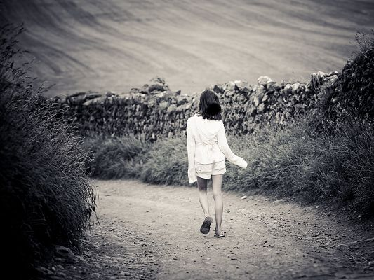 click to free download the wallpaper--Amazing Girls Image, Girl Walking on Country Road, Stones Alongside