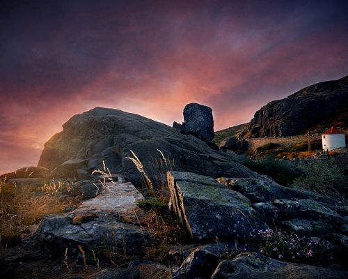 Amazing Images of Nature Landscape, Big Rocks Under the Pink Sky, Romantic Scene