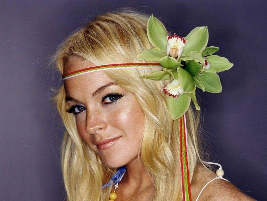 click to free download the wallpaper--Amazing Images of TV & Film, Lindsay Lohan in Orchids, Blonde Hair, What a Beauty!
