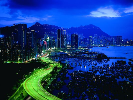 click to free download the wallpaper--Amazing Landscape of the World, Hong Kong by Beachside, Dusk Scene