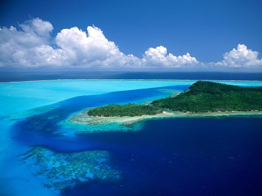 Amazing Landscape of the World, Pacific Island, the Blue Sea and White Clouds, a Clean World