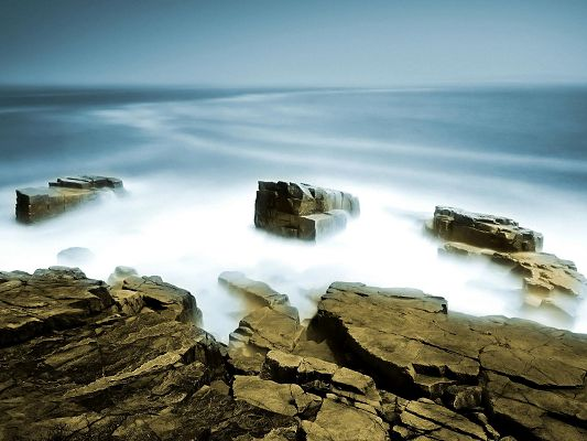 click to free download the wallpaper--Amazing Nature Landscape Image, Sea Mist, Big Rocks by the Side, Fairyland Scene