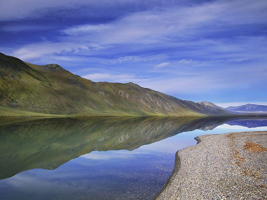click to free download the wallpaper--Amazing Nature Landscape, the Mirror-Like River, the Peaceful Sea, the Blue Sky