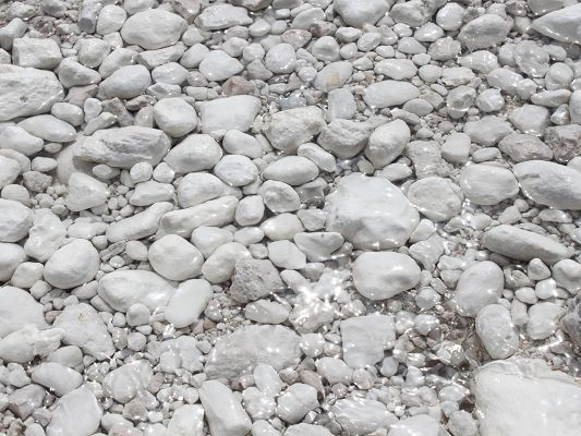 Amazing Pic of Nature Landscape, White Pebbles in the Clear River, They Come from Heaven