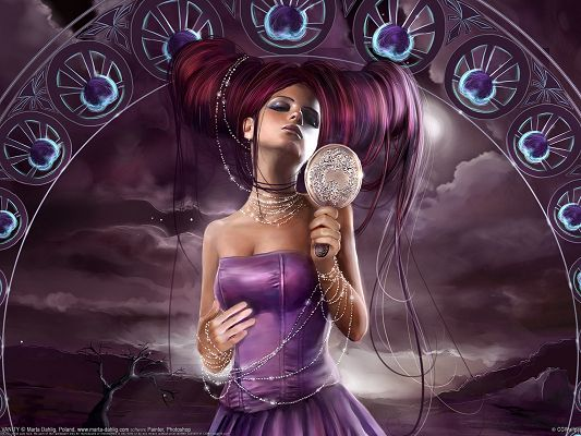 click to free download the wallpaper--Amazing Pic of TV Show, a Purple and Beautiful Girl Holding a Mirror, I Am the Most Beautiful