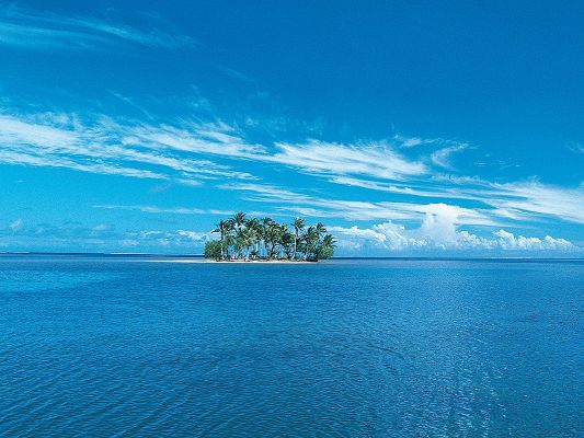 Amazing Pics of Nature Landscape, an Isolated Island Among the Blue Sea, Great in Look