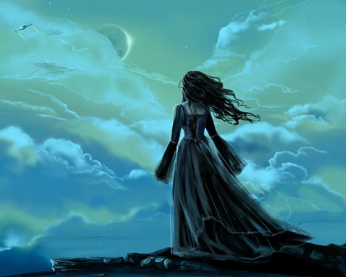 Amazing Pics of TV Show, Fantasy Girl in Long Black Dress, the Sky at Night
