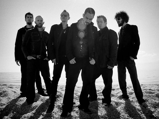 click to free download the wallpaper--Amazing Pics of TV Show, Linkin Park Monochrome, Cool Guys Standing on Beach Sand