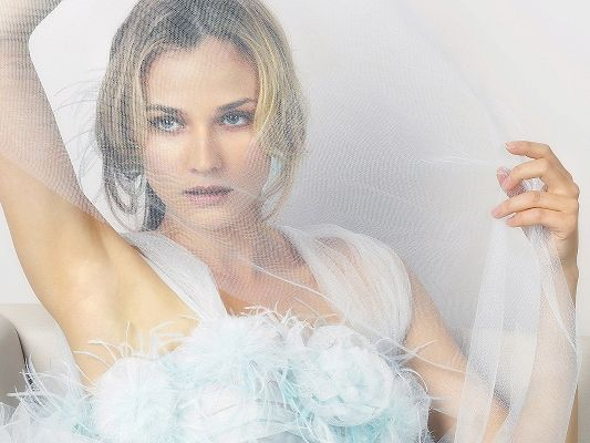 Amazing TV Show Image, Diane Kruger in Wedding Dress, White Cloth Covered Face