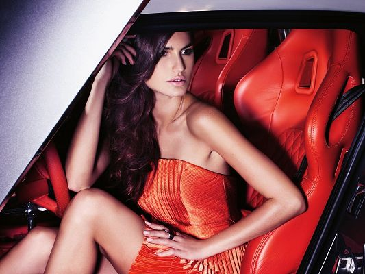 click to free download the wallpaper--Amazing TV Show Pic, Gorgeous Model in Red Dress, Car Seats in the Same Color