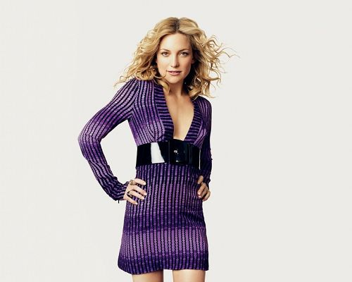 click to free download the wallpaper--Amazing TV Show Pics, Kate Hudson in Purple Dress, Decent and Graceful Look