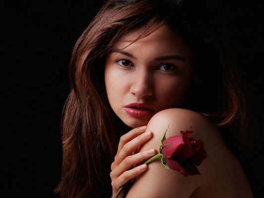 click to free download the wallpaper--Amazing TV Shows Image, Beautiful Female in Red Rose, Half Naked, Good-Looking and Impressive