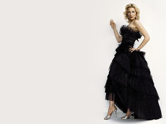 click to free download the wallpaper--Amazing TV Shows Image, Cate Blanchett in Black Dress, Purely White Background