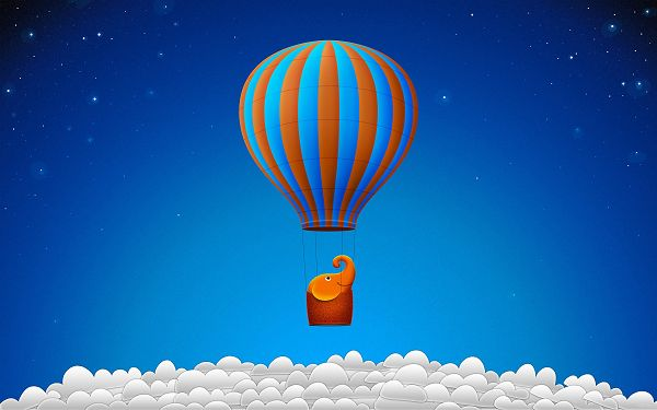 click to free download the wallpaper--An Eleplant in a Balloon, Clouds Are Under, It Must be Running Really High, Is This Really Happening? - Creative Cartoon Wallpaper