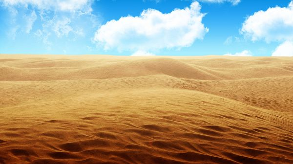 click to free download the wallpaper--An Endless Pile of Sand, All in Peaceful Sleep, Can Try Walking Bold on It - HD Natural Scenery Wallpaper