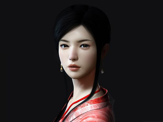 click to free download the wallpaper--Ancient Asian Girl, Black Straight Hair and Snowy White Skin, What a Beauty!