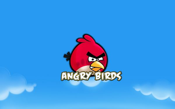 Angry Birds in Overwhelming Popularity, Blue Background, Bird is Angry Enough, Where Are Pigs? - HD Cartoon Wallpaper
