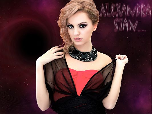 click to free download the wallpaper--Appealing TV & Movie Pics, Alexandra Stan in Hot Suit and Thick Cosmetics, Unbelieveable Beauty