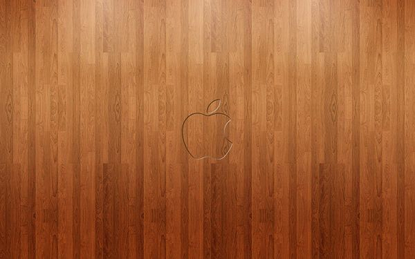 click to free download the wallpaper---Apple Brand on a Wooden Texture, Various Lines Lying, High Quality and Resolution Can be Expected - HD Widescreen Apple Wallpaper