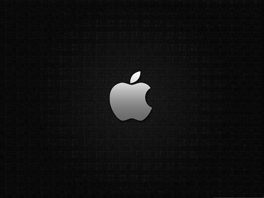 Apple Carbon Background, White Apple Brand on Dark Background