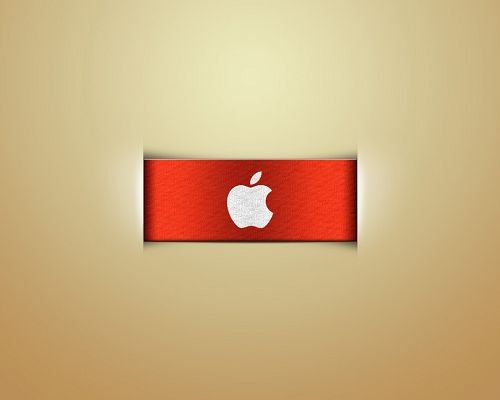 Apple Logo Images, Apple Logo on Red Ribbon, Light Yellow Background, is Quite Impressive