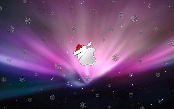click to free download the wallpaper---Apple Symbol Seems to be Releasing Its Power, Painting the Background Colorful and Bright - HD Apple Theme Wallpaper