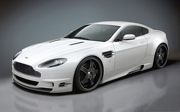 click to free download the wallpaper--Aston Martin Car, White and Decent Car in the Stop, Gains First and Formost Attention