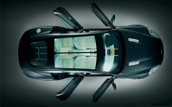 click to free download the wallpaper--Aston Martin Wallpaper, Super Car from a Bird's Eye View, All Doors Open