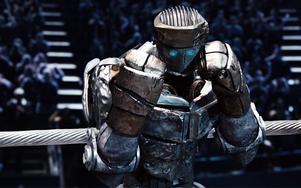 click to free download the wallpaper--Atom in Real Steel Available in 1920x1200 Pixel, Steel is All Over the Man's Body, He is in a Competition, a Brave Fighter - TV & Movies Wallpaper