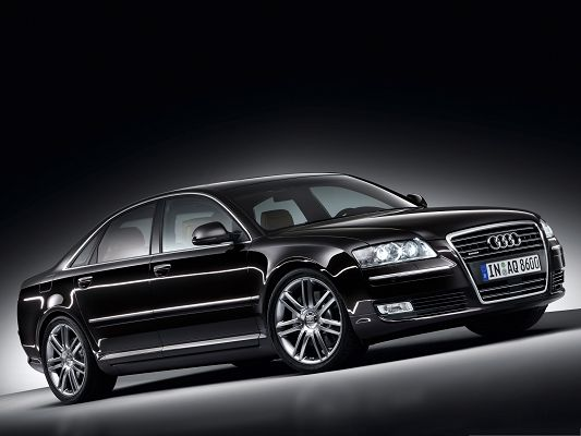 click to free download the wallpaper--Audi A8 as Background, Black Super Car Under Spotlight, Incredible Look