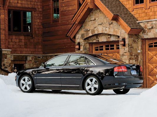 click to free download the wallpaper--Audi A8 as Background, Black Super Car in the Snowy World, Amazing Look
