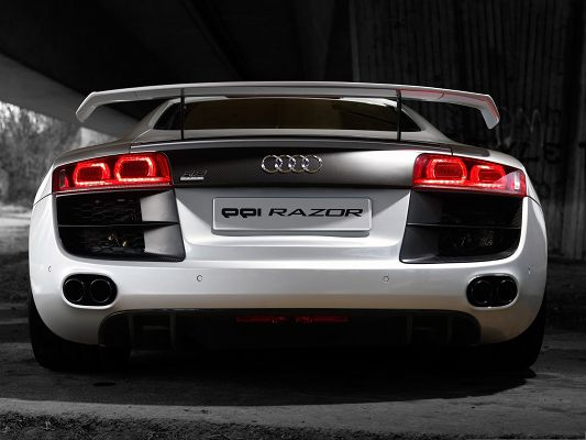 click to free download the wallpaper--Audi Car as Background, Silver Car in Stop, Rear Look