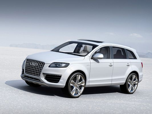 click to free download the wallpaper--Audi Cars Motors, White and Decent Car Among the White World