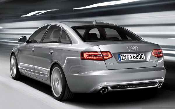 Audi Cars Wallpaper, Silver Audi A6 in Fast Run, Bright and Shinning Lights