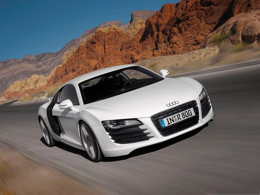 click to free download the wallpaper--Audi Cars Wallpaper, White Car in the Run, Flat and Straight Road