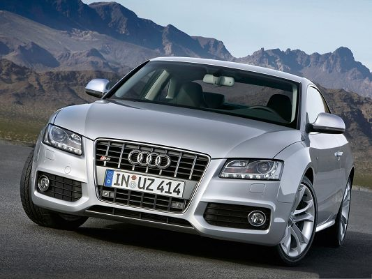 Audi Cars as Wallpaper, Silver Super Car Among Nature Landscape, Amazing Look