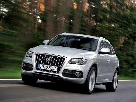 Audi Q5 for Desktop, Silver Super Car in the Run, Great Nature Scene Alongside