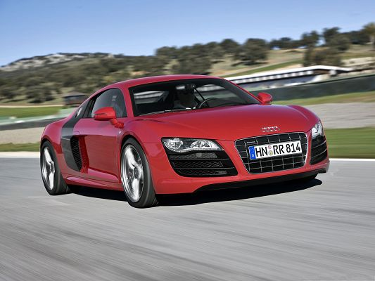 click to free download the wallpaper--Audi R8 Car as Background, Red Super Car in Incredible Speed, Nice Look