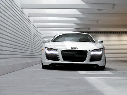 click to free download the wallpaper--Audi R8 Car as Wallpaper, White and Decent Car in Stop, White Room