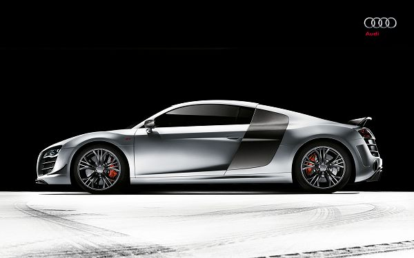 click to free download the wallpaper--Audi R8 GT3 Post in 2560x1600 Pixel, a Gray and Decent-Looking Car in the Stop, You Can Expect Great Speed and Attention - HD Cars Wallpaper