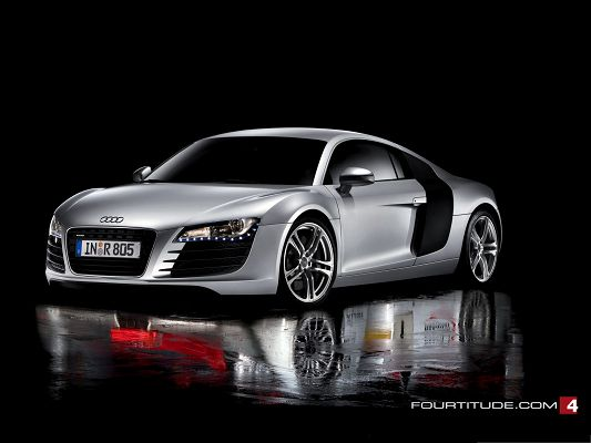 click to free download the wallpaper--Audi R8 Wallpaper, Silver Super Car in Shadow Water, Dusk Background