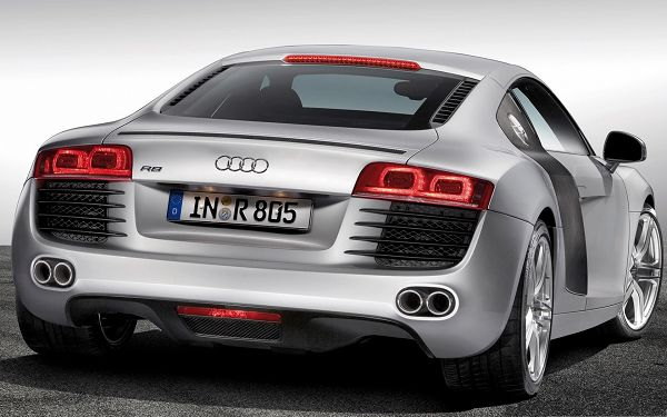click to free download the wallpaper--Audi RS Super Car as Wallpaper, Silver Super Car from Rear Look, Nice and Impressive